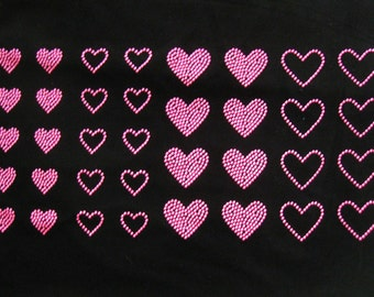 Set of 36 Neon pink  hearts rhinestone stud iron on transfer - BUY 2, GET 1 FREE