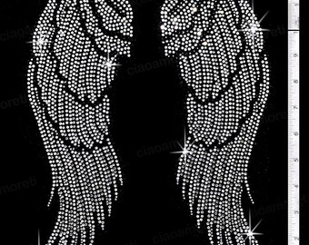 "Large angel wing rhinestone iron on hotfix transfer bling DIY - 10"" by 14""- BUY 5, Get 1 FREE"
