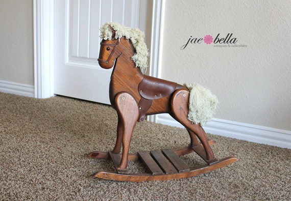 Wood Rocking Horse - One of a Kind - Vintage horse - Shabby Cottage Country - Perfect Child or Horse Lover Decor