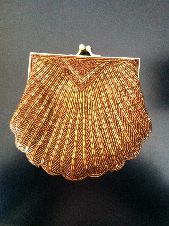 Retro Vintage La Regale Ltd. Gold  Beaded Clutch Purse Handbag