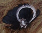 custom for ruth - Dainty black and white cameo hair clip
