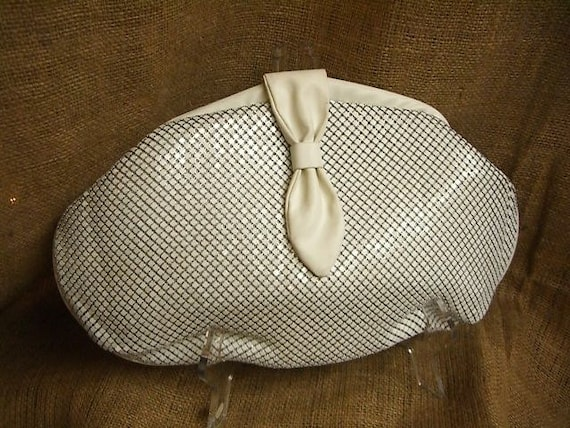 White Metal Mesh Clutch Purse with Strap.