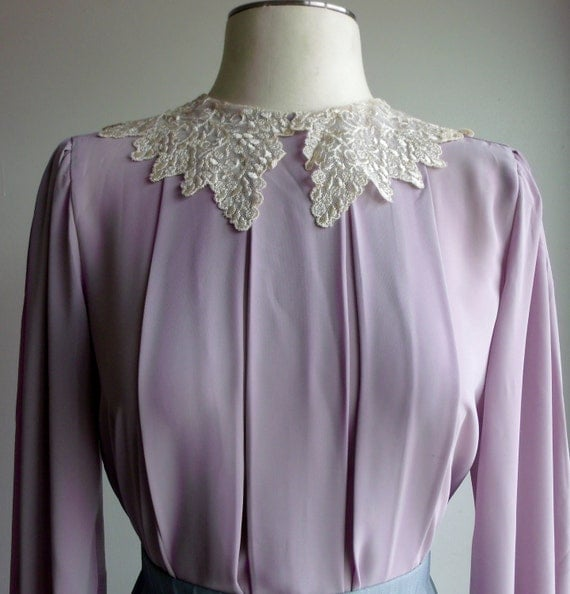 Lavender lace peter pan collar blouse