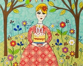 Girls Birthday Cake Greetings Card