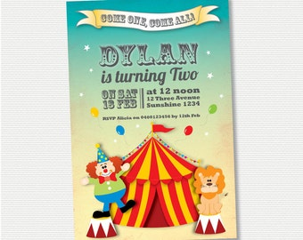 Circus Birthday Invitation - DIY Printable