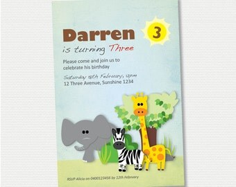 Safari Animals Birthday Invitation - DIY Printable