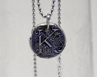 Custom Silver Wax Seal Initial Necklace