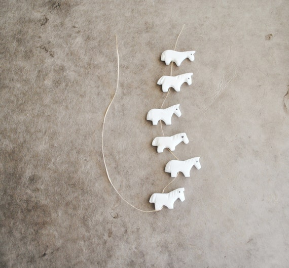 white horse fetish beads carved from alabaster (4 pcs)