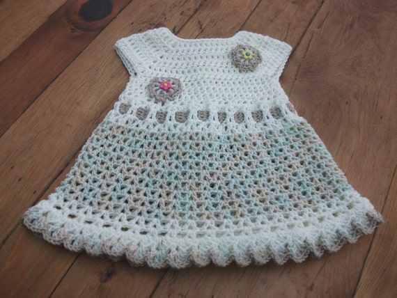 Hand Crocheted Baby Dress, Cream & Brown