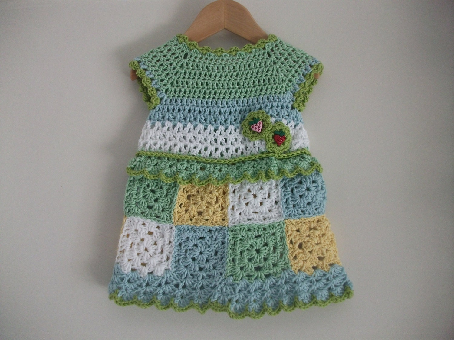 Hand Crocheted Baby Dress Granny Squares