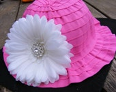 Beautiful Baby Toddler Sun Hat Large White Daisy Flower Summer Beach Hat