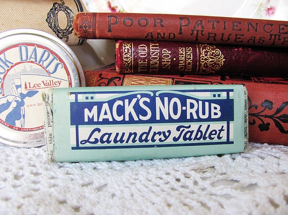 Antique Shabby Chic Mack's No-Rub Laundry Tablet - Blue and Turquoise Laundry Soap - Home Decor