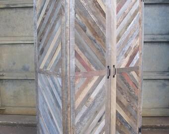 The Chevron Merry-Maker Hutch Wine Fridge Liquor Cabinet Bar Reclaimed Wood Barn Pallet