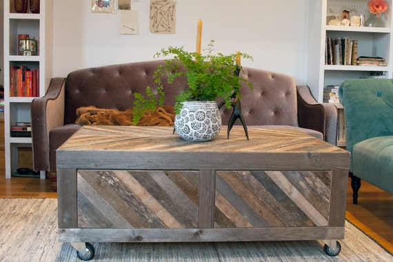 RESERVED for Laura -- Reclaimed Chevron Pallet and Barn Wood Coffee Table with Storage on Casters Modern Rustic