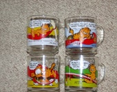 Late 70's/Early 80's McDonalds Glass Garfield Coffee Mugs 4 Set