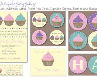 Cupcakes Birthday Party Package  - Custom Digital File
