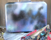 hand painted vintage galaxy suitcase travel bag