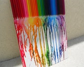 Rainbow Colored Melted Crayon Painting