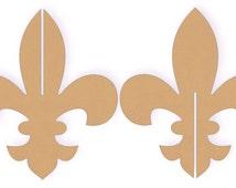"Two sets of 12"" Tall Interlocking 3D Fleur De Lis Wood Cutout Shapes"