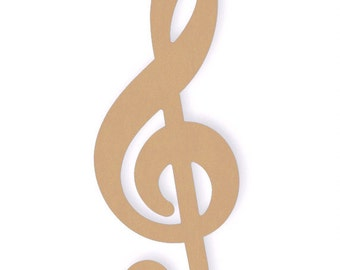 One Large 22 inch Unfinished Wood Treble Clef Craft Cutout Shapes