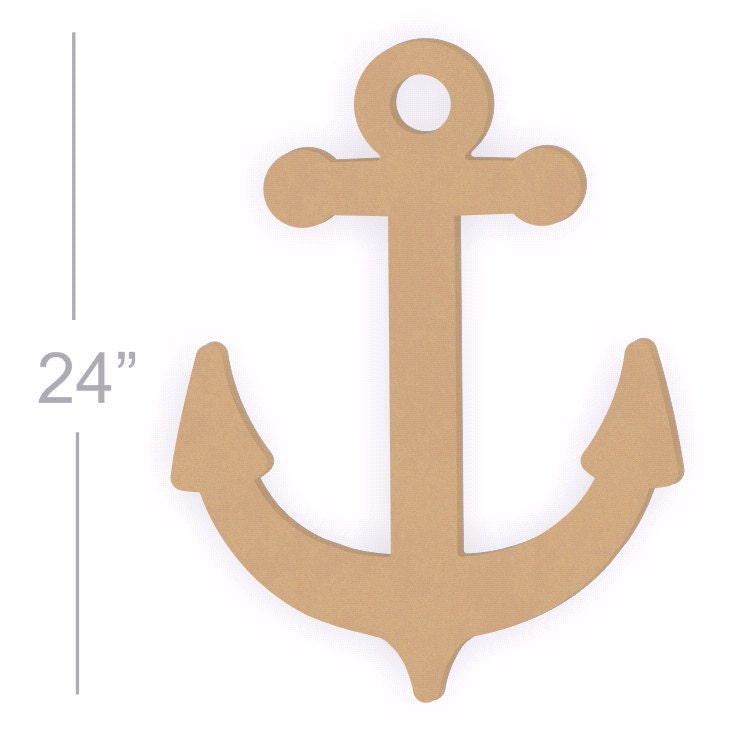 Wooden Anchor Wall Decor large 24 inch unfinished wooden anchor