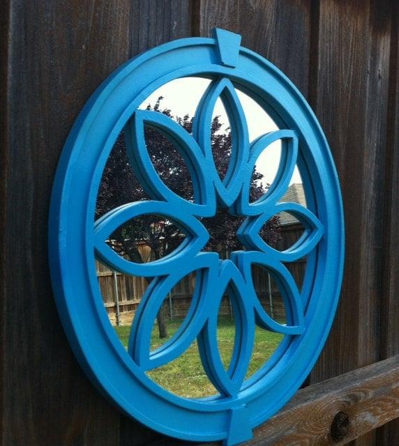 Bright blue teal framed mirror for Teal framed mirror