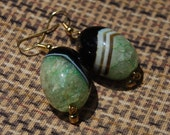 Green & Black Striped Agate Earrings - Drops of Jupiter