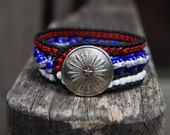 Patriotic Stars and Stripes Wrapped Leather Bracelet with Vintage Button - Lone Star Texas