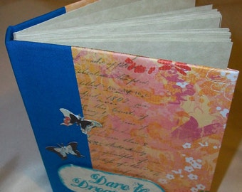 """Small Blue and Orange """"Dare to Dream"""" and Butterfly Journal"""