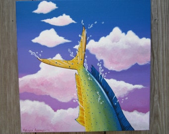 original, dolphin fish leaping, mahi mahi, tail, blue sky painting