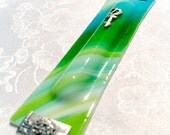 Large handmade fused glass Mezuzah case (green-teal)