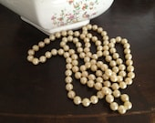 """Retro Vintage 70's  Faux Plastic Ivory Cream Pearl  Bead 47"""" Rope Strand Necklace  Vintage Jewelry, Classic"""
