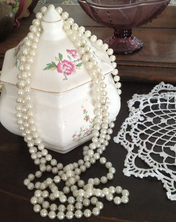 """Very Long Vintage 70's  Faux Plastic White Pearl  Bead 102"""" Rope Strand Necklace  Vintage Jewelry, Classic"""