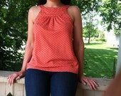 1970s Coral Sleeveless Top