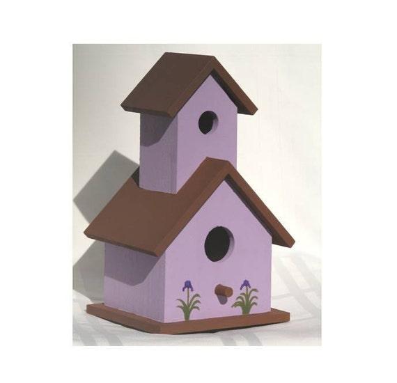 birdhouse wooden hand painted purple brown iris