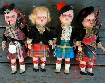 SALE-Set of 4 1950s Scottish Dolls