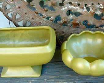 SALE-Vintage USA Pottery Set of 2 Planters Green