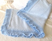 Baby Blue - boy's baby blanket in a blue and white knit with blue lace trim