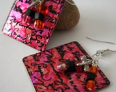 Pink, Orange and Black Square Metal Earrings. Earrings Stamped With Artist Signatures. 1x1 inch Pink & Black Earrings.