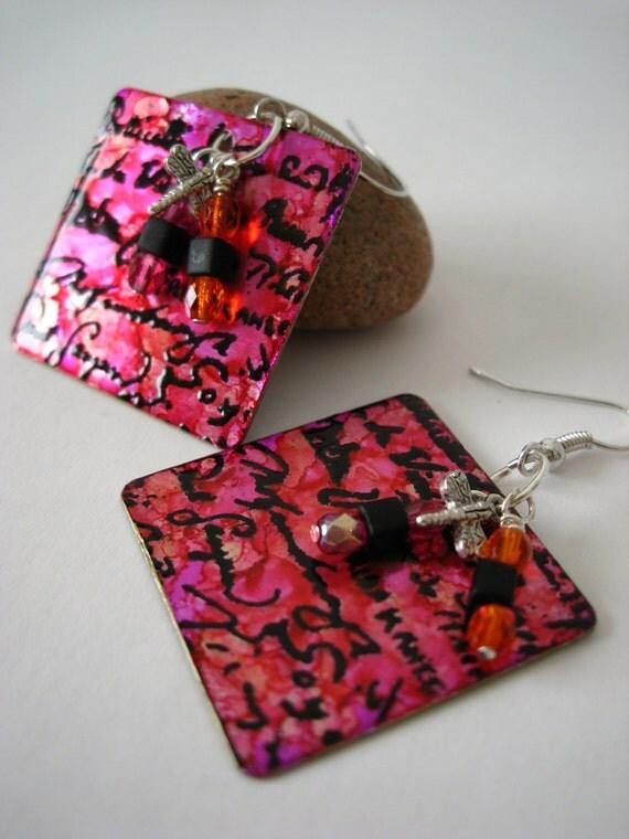 Pink, Orange and Black Square Metal Earrings. Earrings Stamped With Artist Signatures. 1x1 inch Pink & Black Earrings.