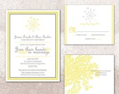 Wedding Invitation Queen Anne's Lace Printable - Yellow and Gray for wedding or commitment ceremony