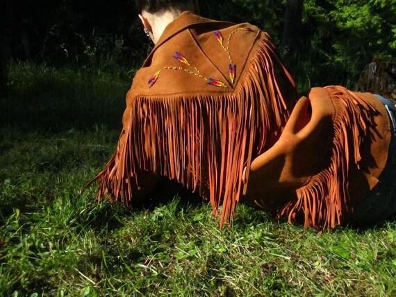 SALE Vintage 1950s Cherokee Togs Fringe and Beaded Jacket