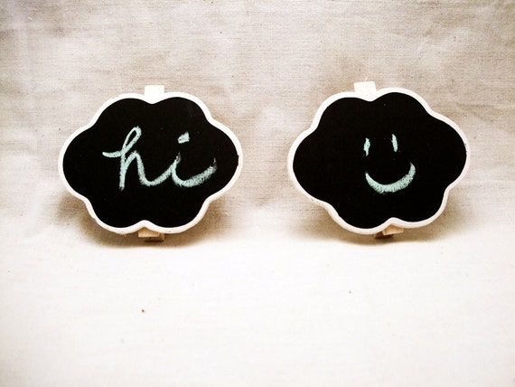 5 Cloud Chalkboard Labels / Clips - Black Board Labels for Weddings, Parties