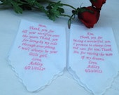 Set of two mother of bride mother of groom personalized handkerchief