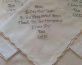 giftset of three wedding personalized  father of bride mother of bride groom handkerchiefs