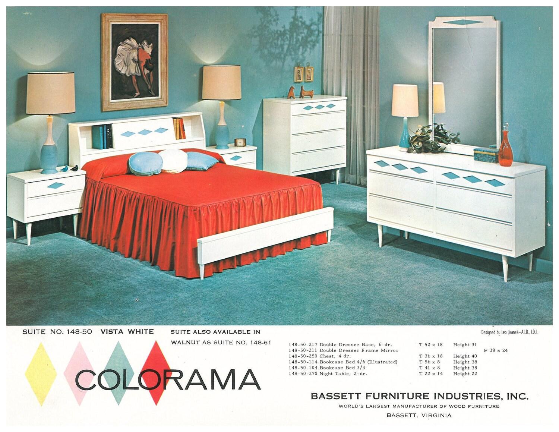 Retro Vintage Rare Bassett Industries Colorama Bedroom Wood 2