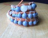 Rose Quartz and Blue Glass Beaded Triple Wrap Beaded Bracelet- Gift for Teenage Girl, Romantic Bracelet, Shabby Chic Bracelet