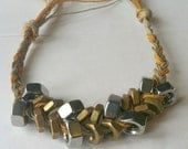 Braided Hex Nut Bracelet with Gold Hex Nuts and Silver Hex Nuts