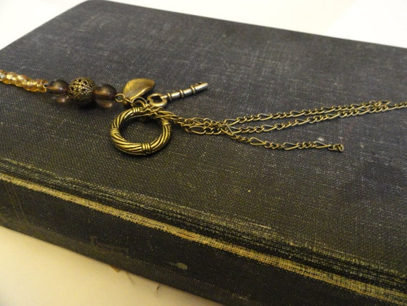 Gold Beaded Book Thong Style Bookmark With Key,Chain Charms
