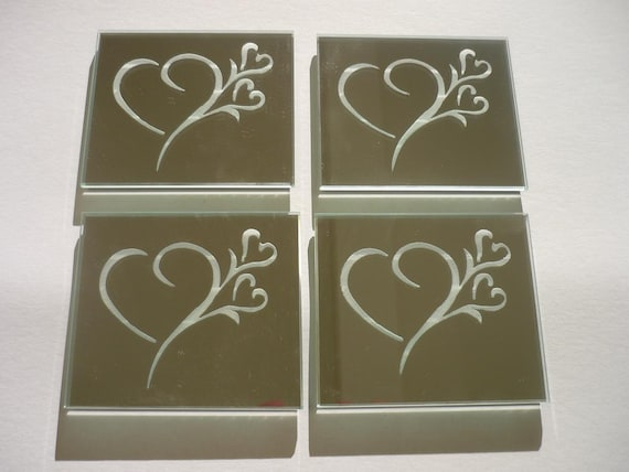 I Heart You -  Etched Mirror Coasters Set of 4
